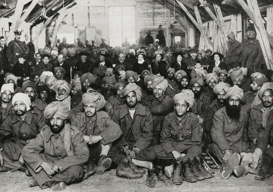 Injured Indian soldiers being cared for by the Red Cross in England in March 1915. Photograph: De Agostini Picture Library/Biblioteca Ambrosian
