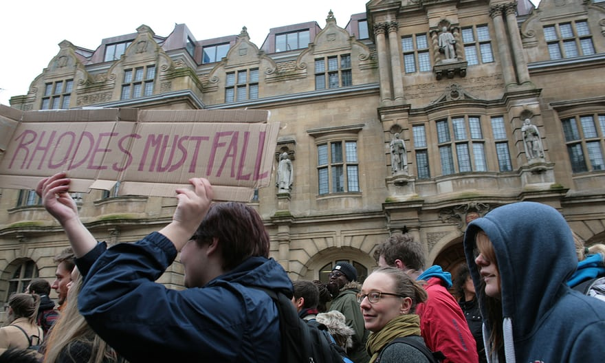 Campaigners calling for the removal of a statue of British imperialist Cecil Rhodes (upper right) at Oriel College in Oxford. Photograph: Martin Godwin for the Guardian