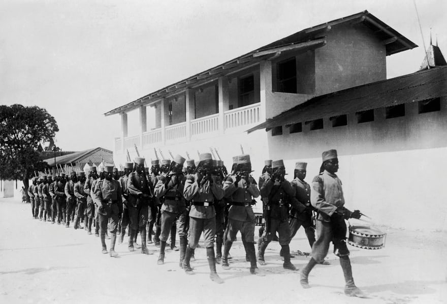 Troops under German command in Dar es Salaam, Tanzania (then part of German East Africa), circa 1914. Photograph: Hulton Archive/Getty Images