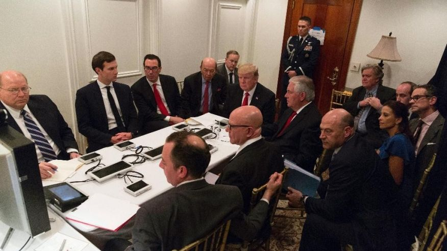 The photograph released by the White House of President Trump meeting with his advisers at his estate in Mar-a-Lago on April 6, 2017, regarding his decision to launch missile strikes against Syria.