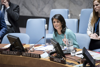 Nikki Haley, United States Permanent Representative to the UN, addresses the Security Council's meeting on the situation in Syria on April 27, 2017 (UN Photo)