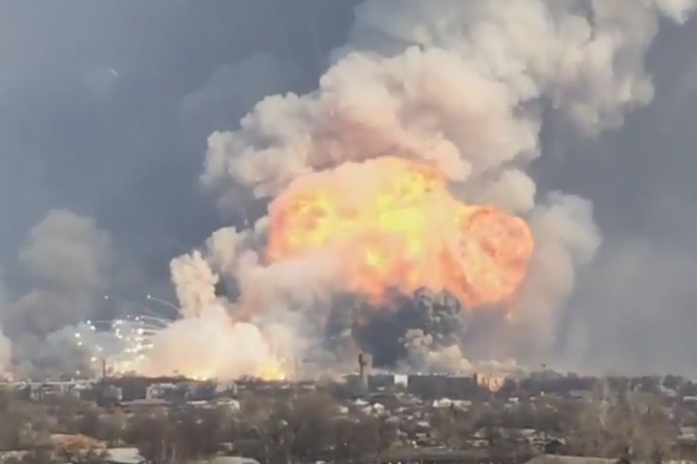 It is suspected that a small drone carrying a thermite grenade may have caused a massive arms depot blast near Balakliya, Ukraine in March 2017. The 350 hectare site near Kharkiv is around 100km from the frontline of the conflict in the eastern Donbas area. 20,000 people were evacuated and the blast is likely to have left a significant environmental footprint of heavy metals and energetic materials.