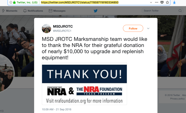 "ROTC on social media - ""Thanks NRA"""