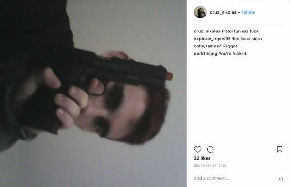 Nikolas Cruz with pistol