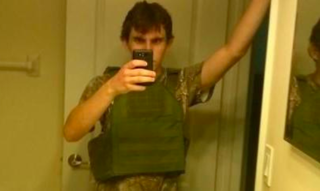 Nic Cruz selfie in a flak jacket