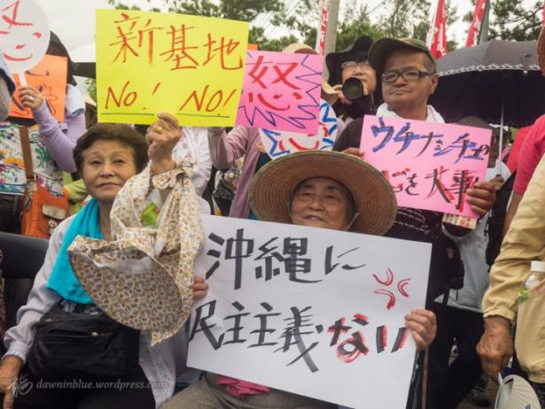 Demonstrators sit in against a planned U.S. military base in Henoko, Okinawa.