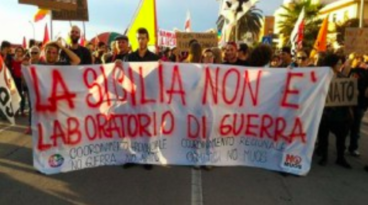 Protesting US military bases in Sicily