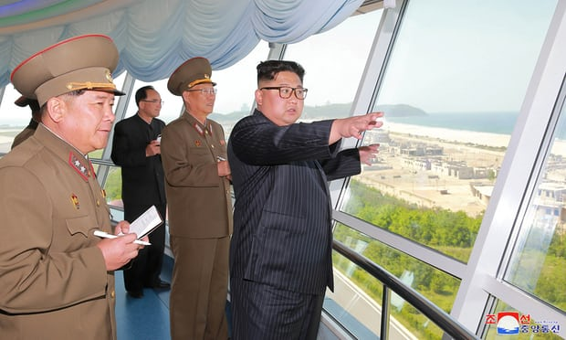 North Korean leader Kim Jong-un inspects the construction site of the Wonsan-Kalma coastal tourist area. Photograph: KCNA/Reuters