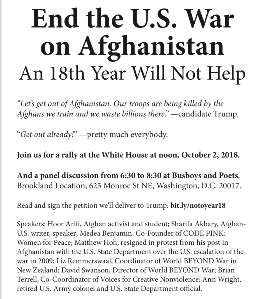 End the US War in Afghanistan