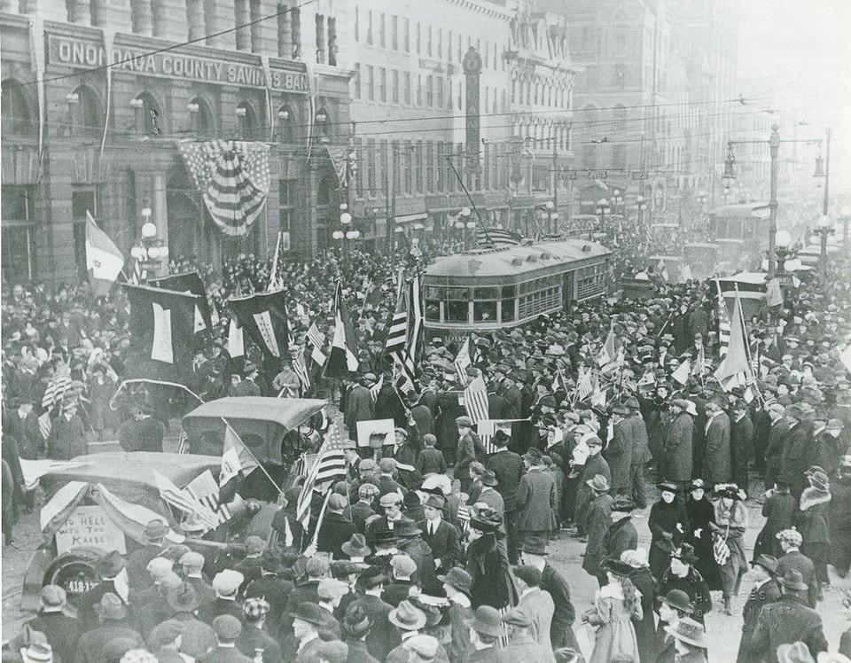 Syracuse, New York celebrates the end of World War I on Nov. 11, 1918.