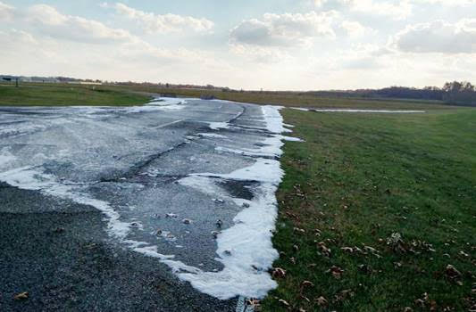 Aqueous film forming foam, or AFFF, leaches into the ground at the Battle Creek Air National Guard Base, Michigan.