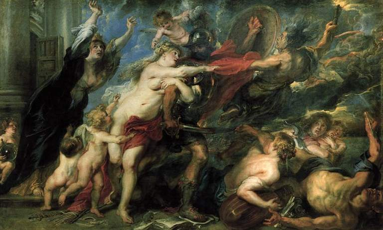 The goddess of wisdom holding off war from peace, by Rubens