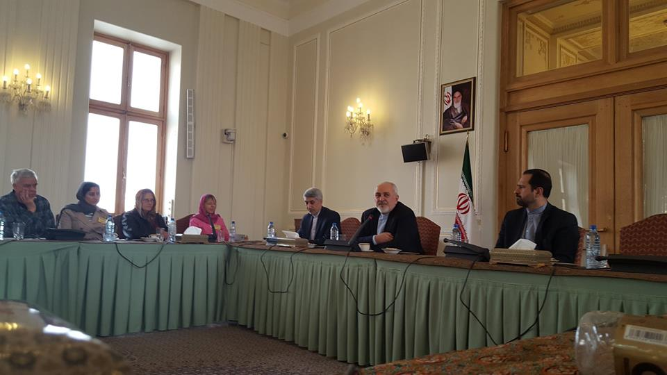 Iran Foreign Minister Zarif speaks to Peace Delegation