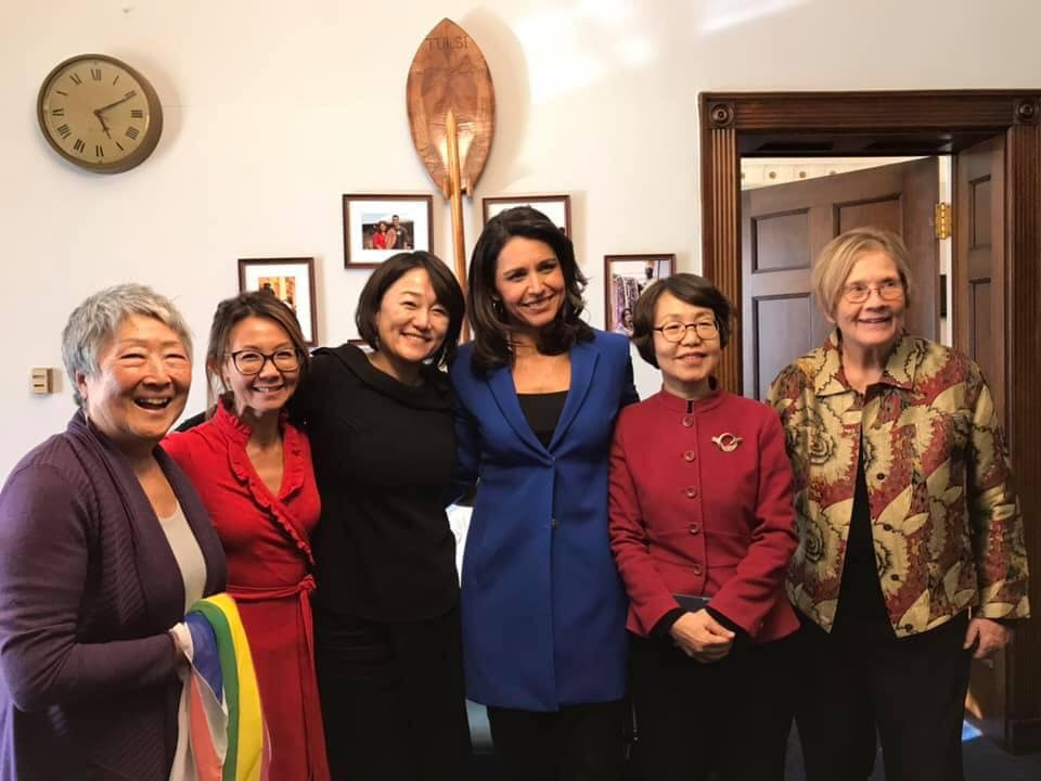 Tulsi Gabbard & Ann Wright & Korean delegation