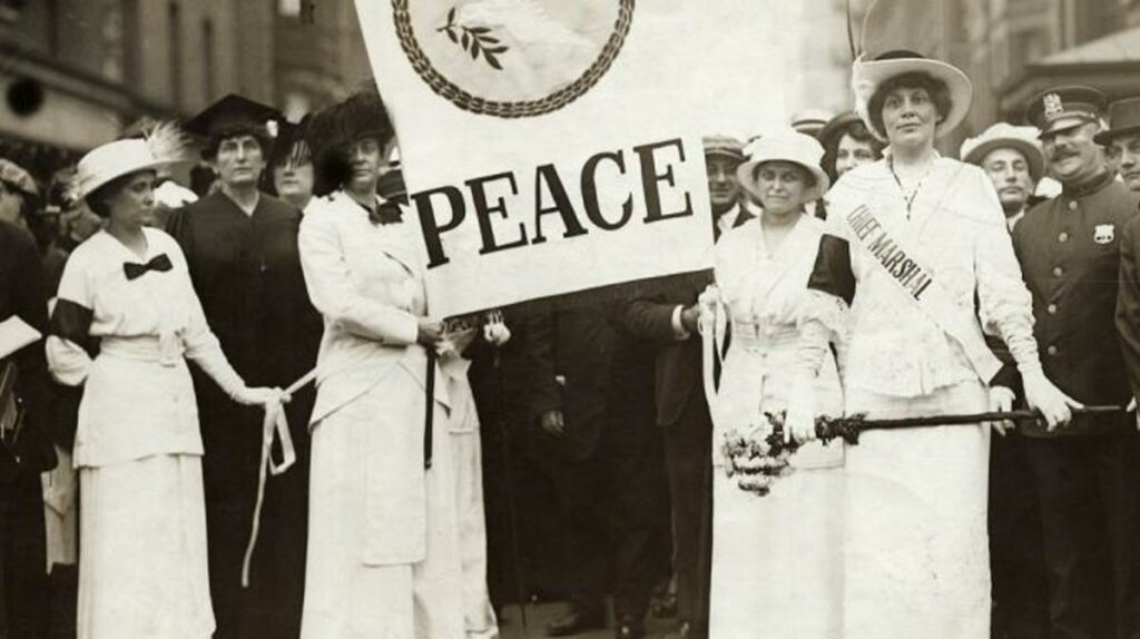 New York City women protesting for peace during World War One