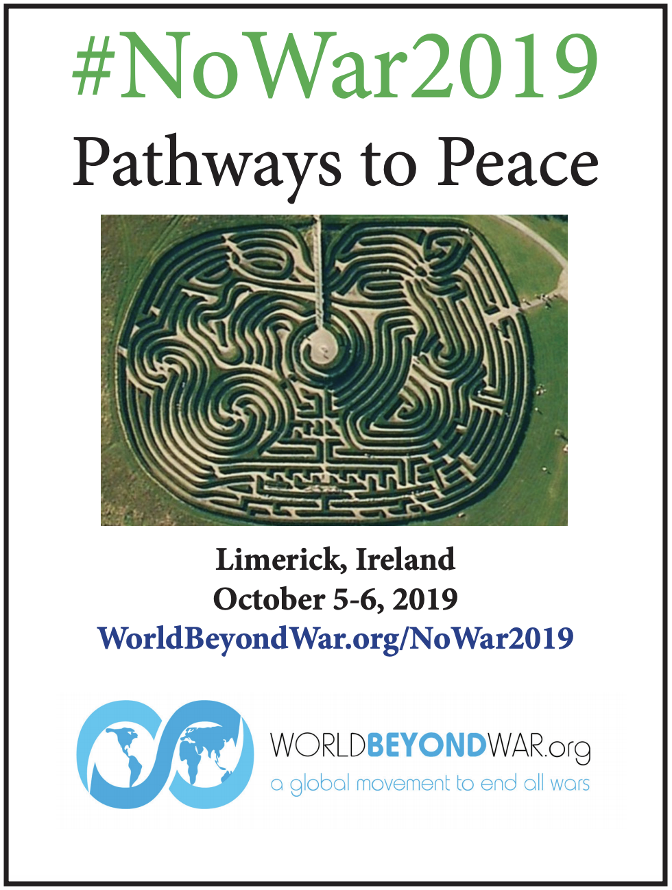 #NoWar2019 Pathways to Peace conference in Limerick, Ireland October 5-6 2019
