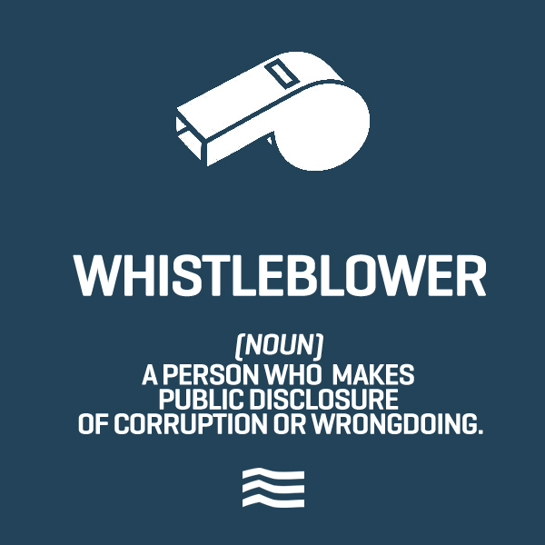 Whistleblower: A person who makes public disclosure of corruption or wrongdoing