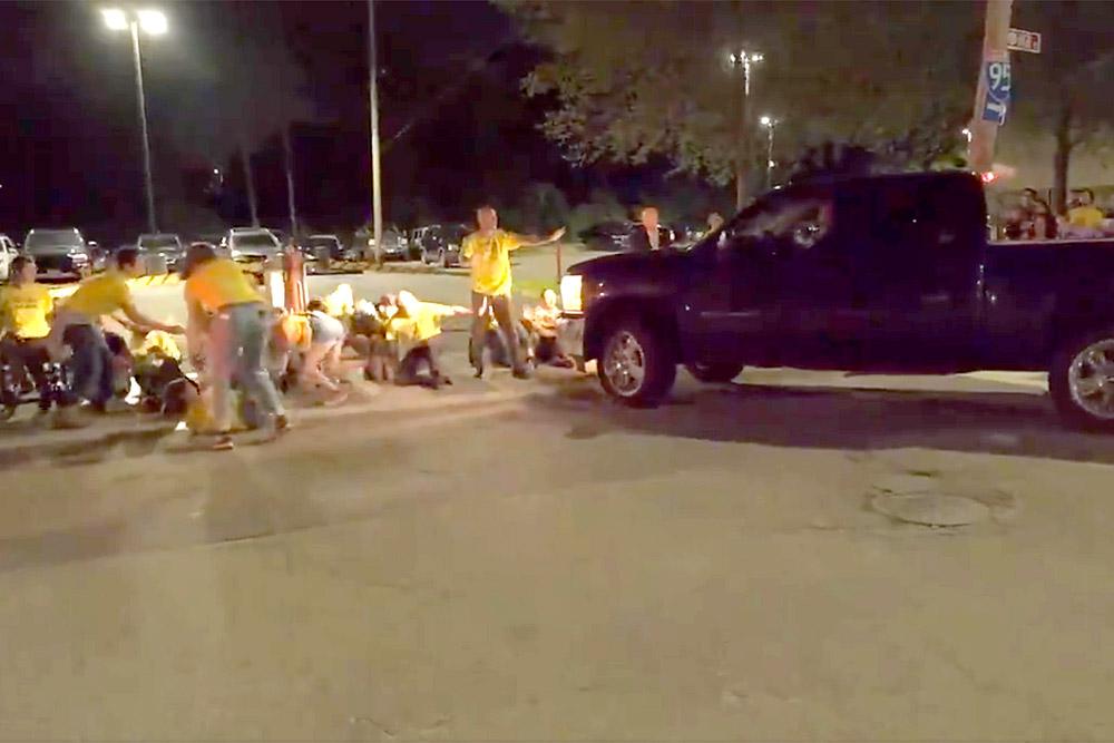 Truck hitting #NeverAgain protestors in Rhode Island