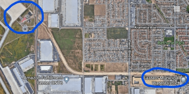 The Eastern Municipal Water District is located on the Perris Valley Storm Drain, close to the runway and the fire training area at March Air Reserve Base. The ground surface at March ARB slopes gently southeastward.