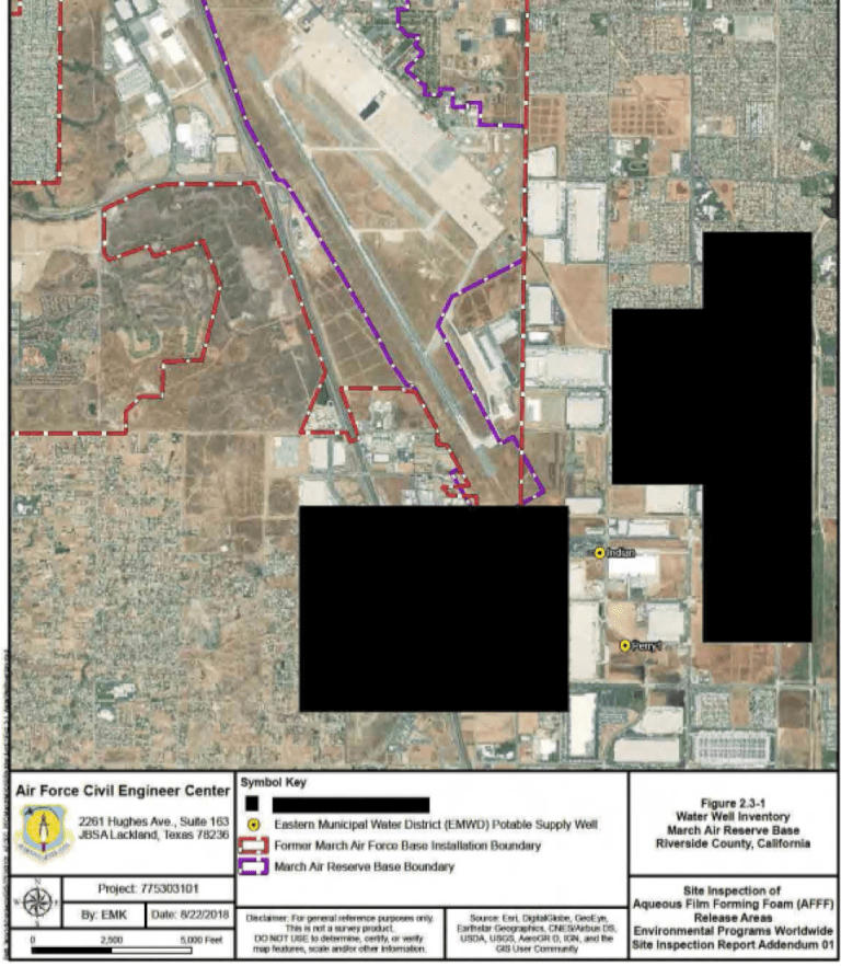 Further redactions by the Air Force appear on this site inspection report  of aqueous film-forming foam release areas.