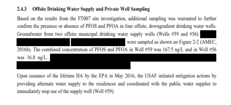 An engineer's report on the contamination contained redactions by the Air Force