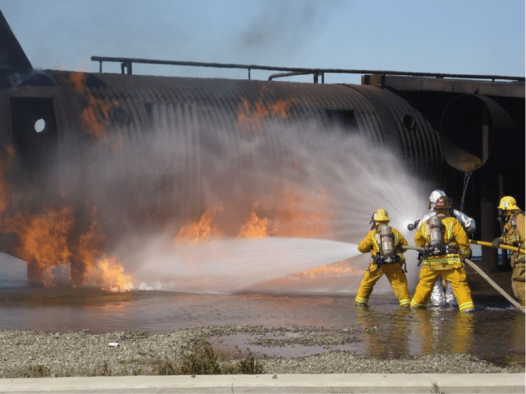 Airmen at March Reserve Air Force Base apply carcinogenic foam during a routine fire-training exercise.  – U.S. Air Force photo
