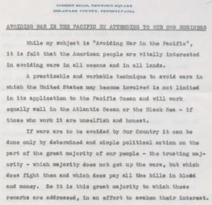 Smedley Butler letter fragment