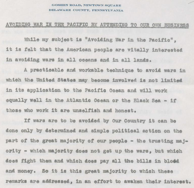 Fragmento de letero de Smedley Butler