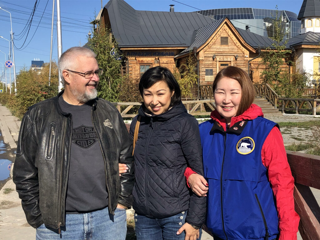 Rotarian hosts in Yakutsk.  Pete, Katya and Maria (Club President). Photo by Ann Wright.