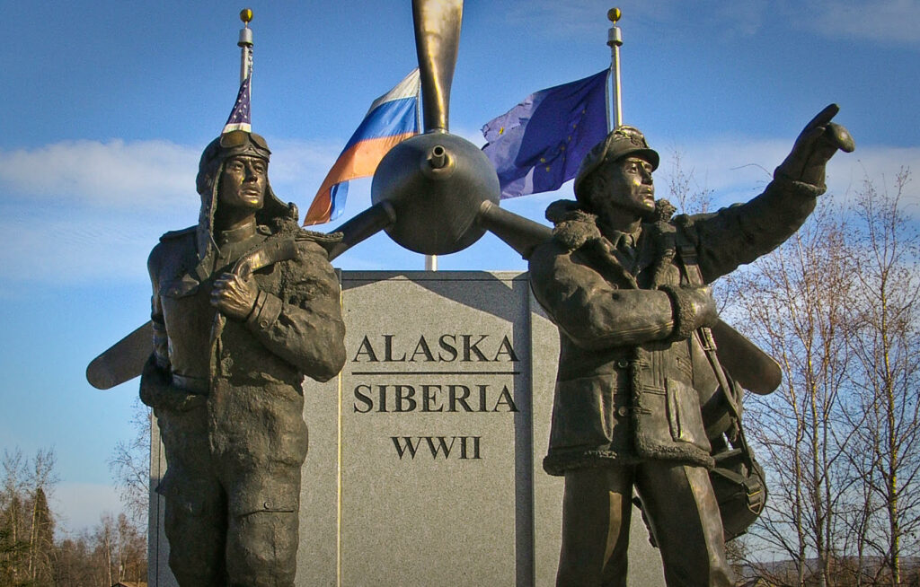 Monument in Fairbanks, Alaska to American and Russian pilots. Photo by Ann Wright.