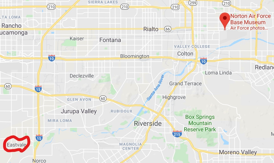 Let's follow the Santa Ana River downstream 20 miles from the former Norton Air Force Base, where the river winds just 2,000 feet from old fire-training areas, to Eastvale