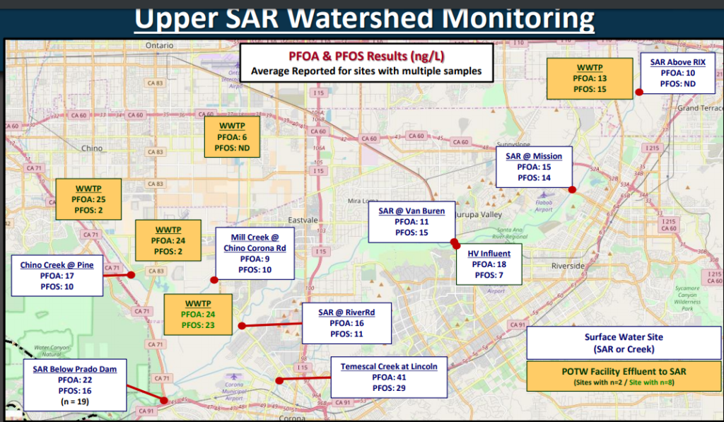 (Locate Eastvale in the center of the map and Corona at the bottom.) This graphic, produced by the Orange County Water District, shows the levels of PFOA and  PFOS in the Santa Ana River Watershed.  (WWTP is Wastewater Treatment Plant)