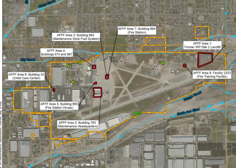 Eight locations at Norton Air Force Base were used for fire-fighting exercises. The sites are within a few thousand feet of the Santa Ana River. (AFFF is aqueous film-forming foam.) From the FINAL SITE INSPECTION REPORT FOR AFFF AREAS AT FORMER NORTON AIR FORCE BASE, August 2018.