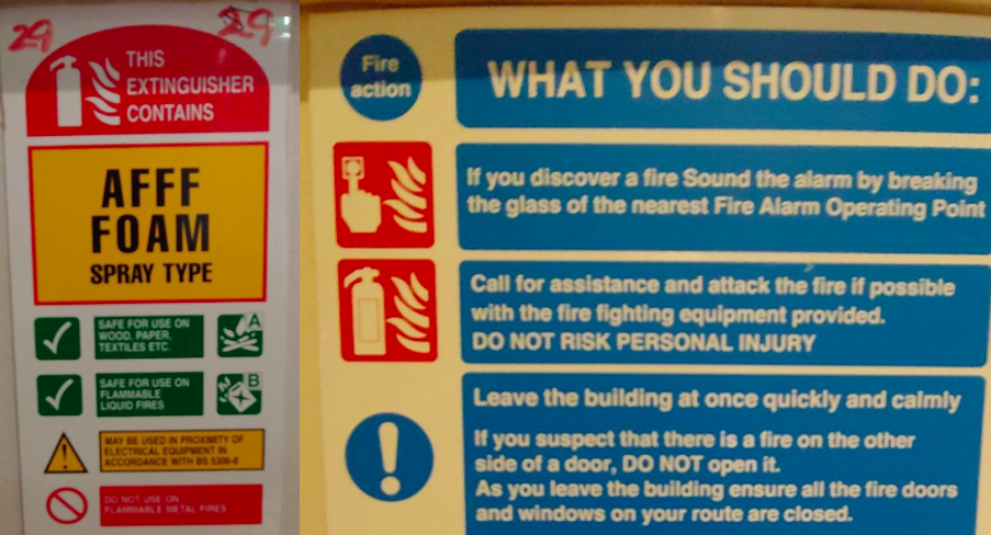 The hallways of Irish hotels show this sign above the tanks containing deadly foams. They're adjacent to another sign that instructs the public on its use.