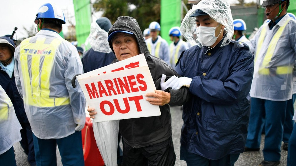 Protestors at Camp Schwab in Okinawa