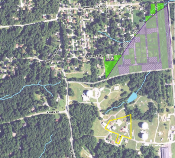 Although carcinogenic plumes may travel for miles, the Navy did not test private wells just 1,000 feet from the burn area. The testing area is shown in the green triangle. The burn area is shown in yellow.