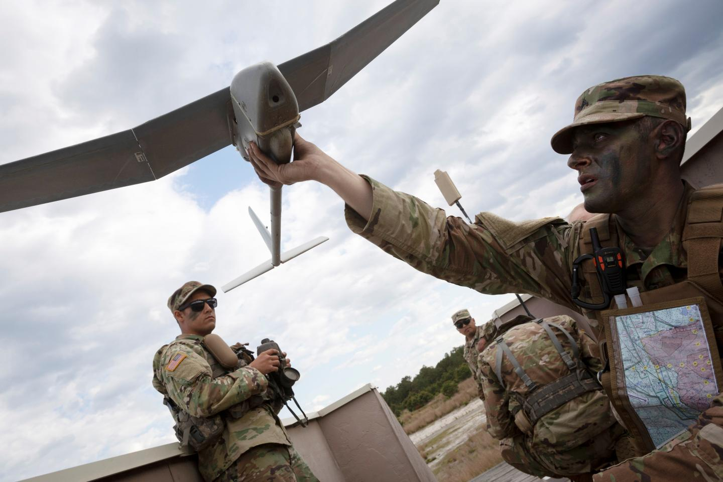US Military personnel with drone