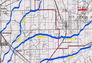 Dry Creek, Reeds Creek, Hutchinson Creek, and Best Slough carry carcinogens recklessly discarded at Beale AFB. The creeks run to the southwest.