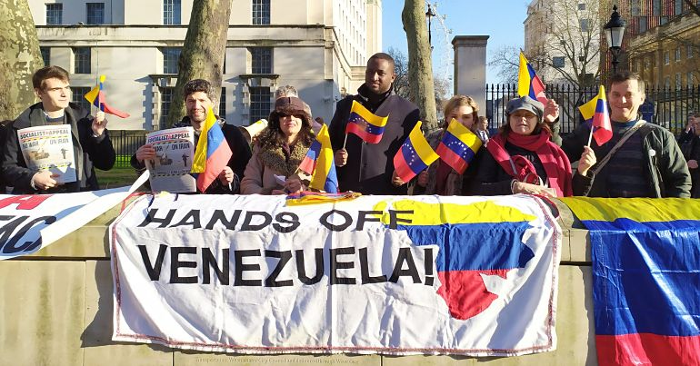 Guaido protested in the United Kingdom on January 21, 2020 from The Canary