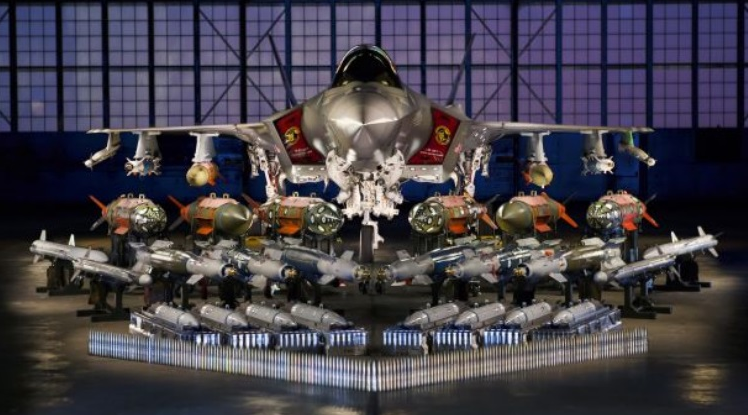 F35 military aircraft loaded with bombs