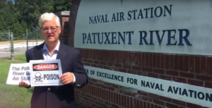 Pat Elder protesting pollution at Patuxent River