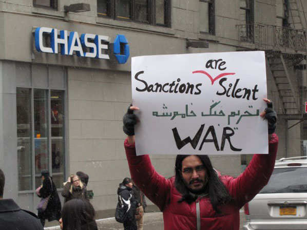 "Protestor: ""Sanctions are Silent War"""