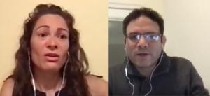 Manisha Rios y Camilo Mejia en el seminario web de World Beyond War