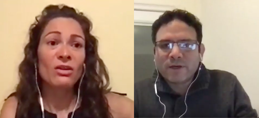 "Manisha Rios und Camilo Mejia im Webinar ""World Beyond War"""