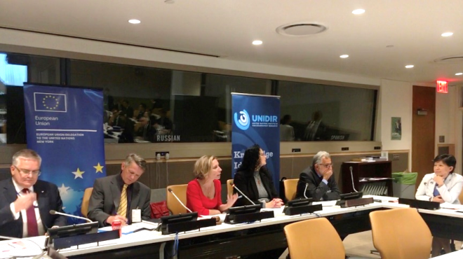 "Opening of UNIDIR's project ""Middle East Weapons of Mass Destruction Free Zone"". From a UN Office of Disarmament Affairs report on October 17, 2019."