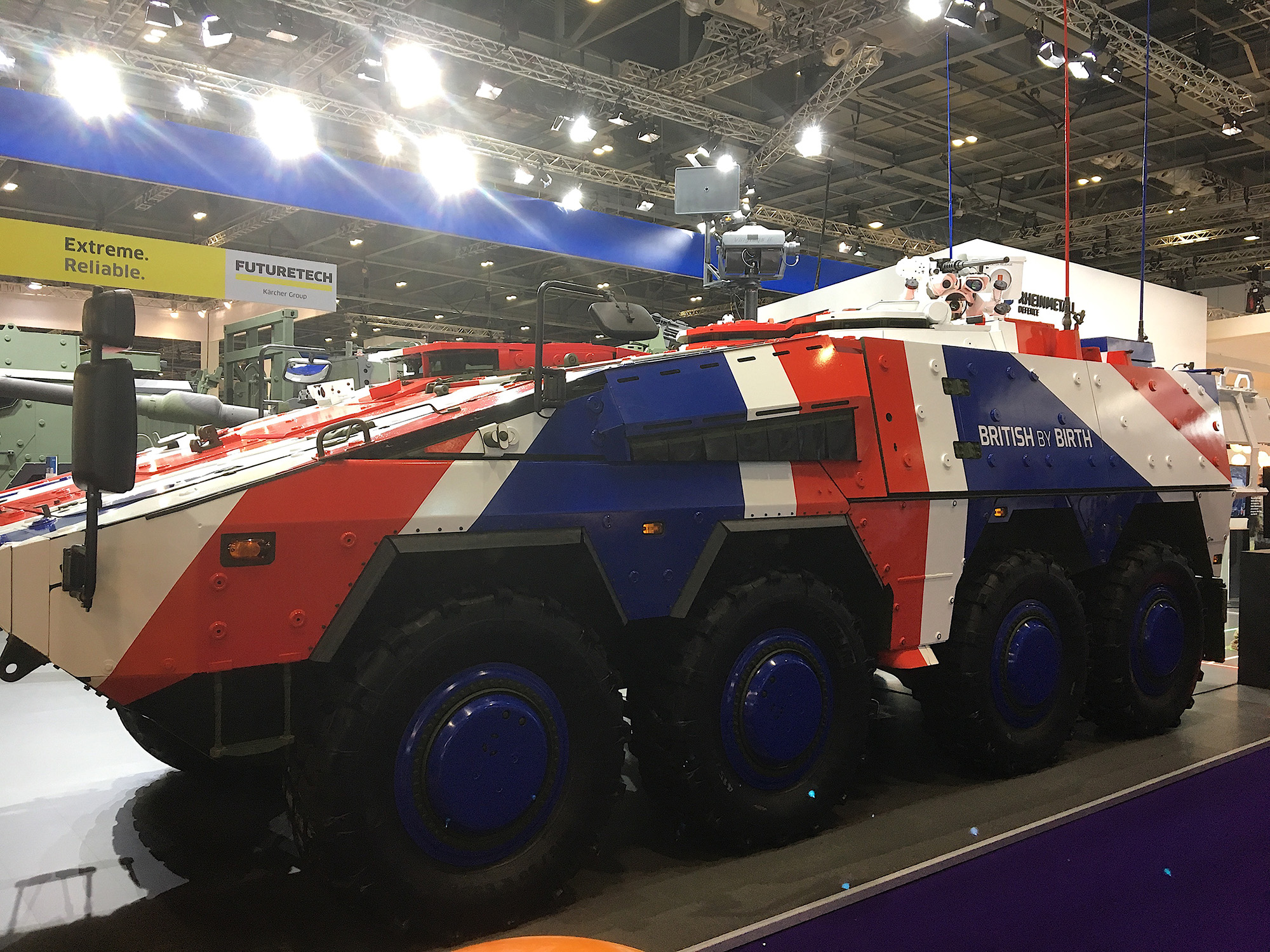 'BRITISH BY BIRTH': a tank on display at the DSEI international arms fair in London, Britain, 12 September 2017. (Photo: Matt Kennard)