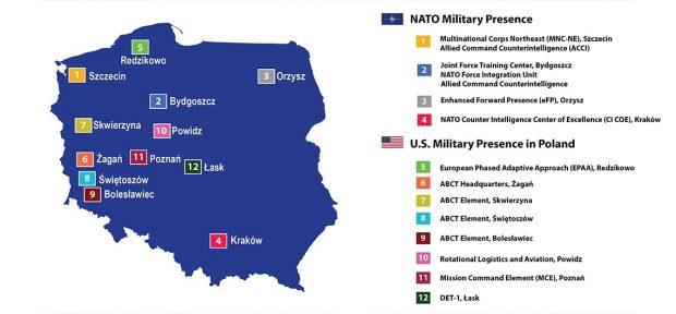 Mapa que muestra la presencia militar de la OTAN y los EE. UU. En Polonia