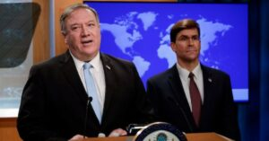 Secretary of State Mike Pompeo (R) holds a joint news conference on the International Criminal Court with Defense Secretary Mark Esper (R), at the State Department in Washington, DC, on June 11, 2020. President Donald Trump on Thursday ordered sanctions against any official at the International Criminal Court who prosecutes U.S. troops as the tribunal looks at alleged war crimes in Afghanistan.