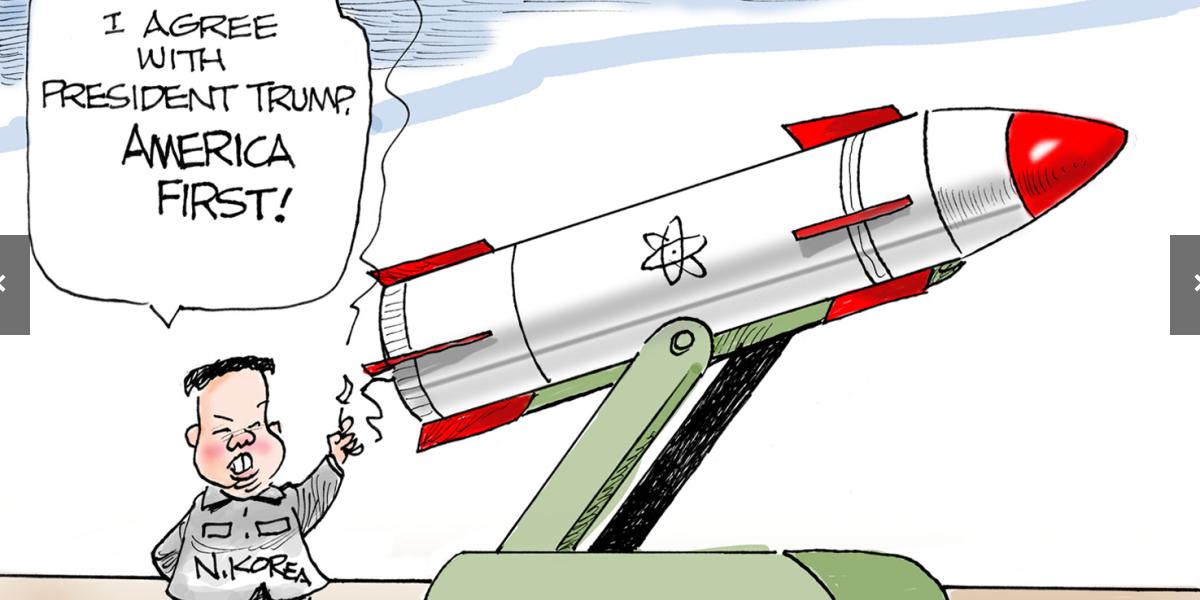 karikaturo bildiganta nord-korean nuklean minacon sur Usono