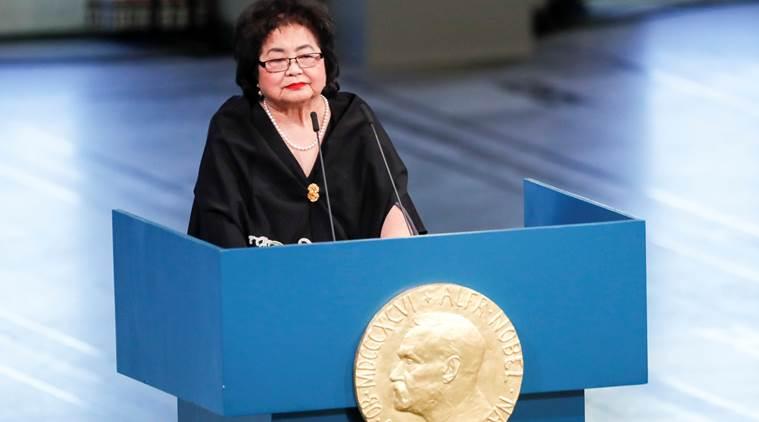 Setsuko Thurlow, ICAN-kampanjestro kaj pluvivanto Hiroshima, parolas ĉe Urbodomo, en Oslo